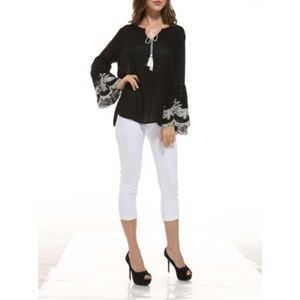 NWT Black Embroidered Tassel Bell SleeveTop